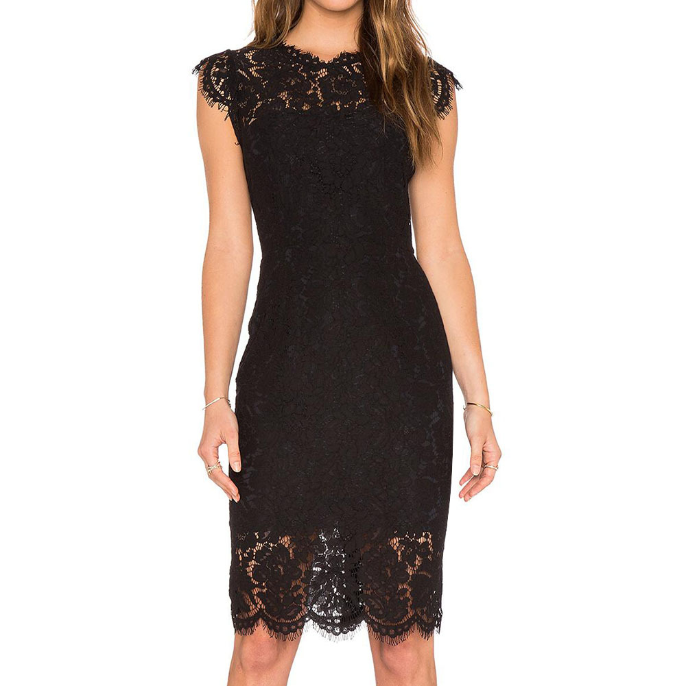 Women's Sleeveless Lace Floral Elegant Cocktail Dress Crew Neck Knee Length For Party YSAN301