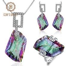 Jewelry-Sets Necklace BALLET Rainbow Natural Mystic Quartz GEM'S Silver Irregular