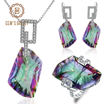 GEM'S BALLET Natural Irregular Rainbow Mystic Quartz Jewelry Sets 925 Sterling Silver Necklace Earrings Ring Set gem s ballet natural mystic quartz iolite blue rings clip earrings real 925 sterling silver fine jewelry set for women gift
