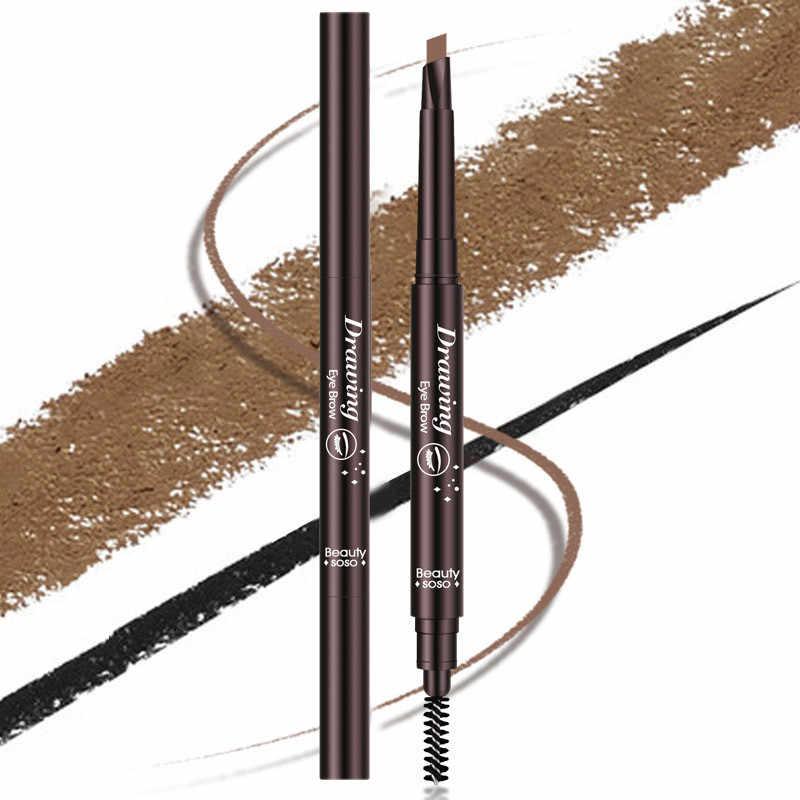 עמיד למים גבה עיפרון לנשים פעמיים בראשות עיניים גבות עט עם גבות מברשת איפור קוסמטי יופי כלים 5 צבעים
