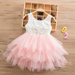 Summer Beading Girl Dress 2019 White Backless Girls Teenage Princess Dress Irregular Tutu 2-6 Years Pink Children Dresses Pink