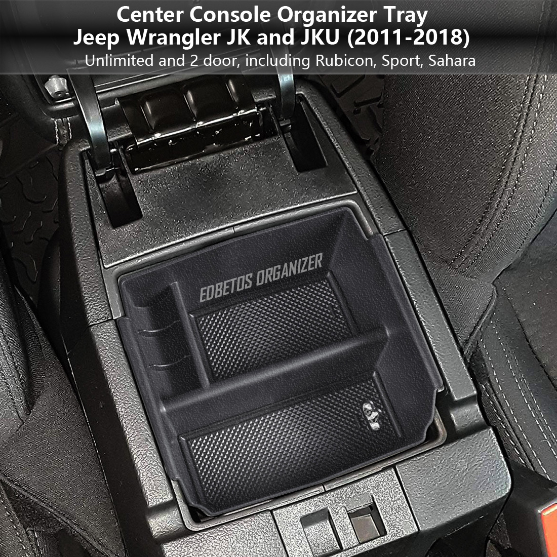 Jeyaic Dashboard Organizer Center Console Insert Storage Tray for 2011-2018 Jeep Wrangler JK JKU Black