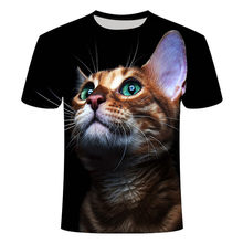 2021 hot sale latest cute cat 3D printing T-shirt men's and women's fashion short-sleeved streetwear funny animal size t-shirt