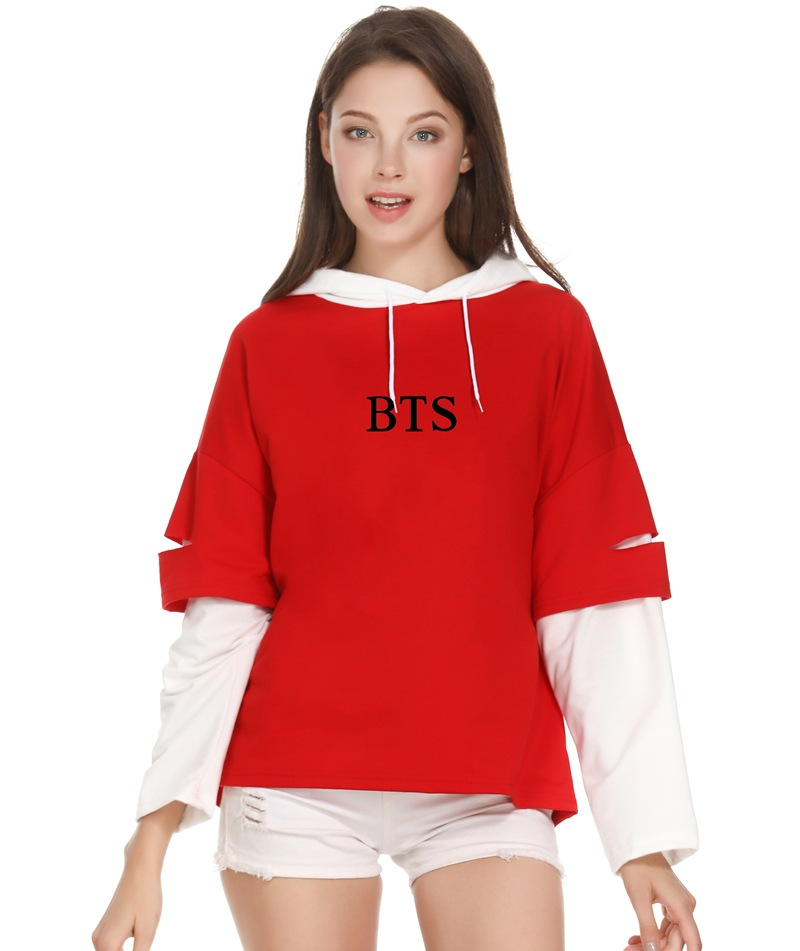 BTS Bulletproof Boys Hoodie Related Products Celebrity Style Women's Fake Two-Piece Trend Of Fashion Thin Hooded Coat Korean-sty