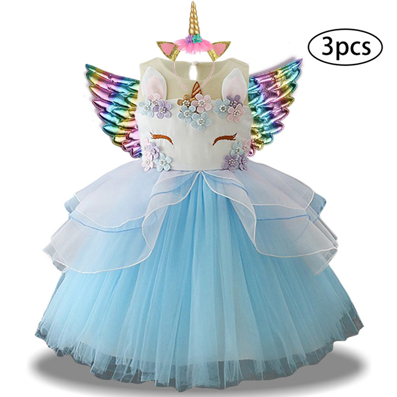 Hae74883000824b0b9326027bf7b4036bZ New Girls Dress 3Pcs Kids Dresses For Girl Unicorn Party Dress Christmas Carnival Costume Child Princess Dress 3 5 6 8 9 10 Year