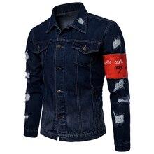 Autumn solid color coat Jacket men Denim Jacket Casual Fashion Jacket Men fashion comfortable pocket design contrast Tops цена