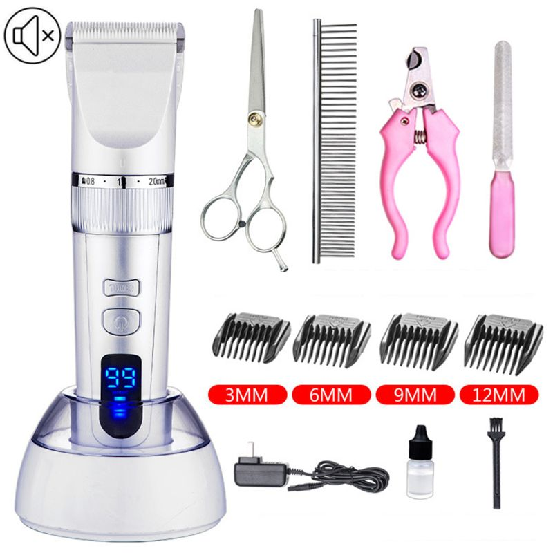 Dog Clippers Cordless Dog Grooming Clippers Kit Rechargeable Quiet Pet Hair Clippers Trimmer With11 Dog Grooming Tools