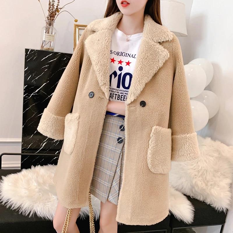 Faux Fur Cashmere Outwear Jacket Mink Fur Loose Long Cardigan Coat Trench Women
