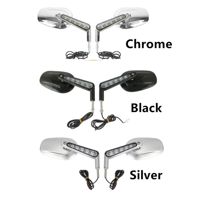 Motorcycle Muscle Rear View Side Mirrors Mirror LED Turn Signals Light For Harley V-Rod VRSCF 2009-2017 16 Black Sliver Chrome 1
