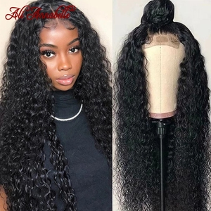 Парик ALI ANNABELLE с кудрявыми кружевами, парики из человеческих волос для женщин, предварительно выщипанная линия волос, 4x4, кудрявые парики с ку...
