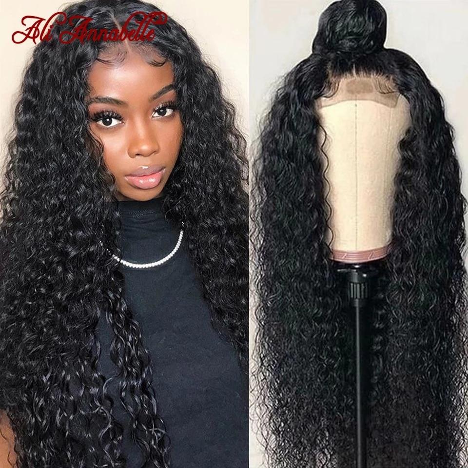 Парик ALI ANNABELLE с кудрявыми кружевами, парики из человеческих волос, предварительно выщипанные натуральные волосы, 4x4 5x5, кудрявые вьющиеся во...