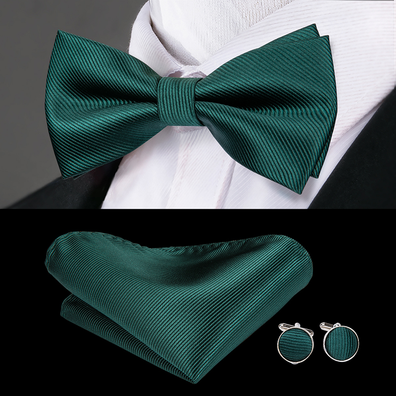 Hi-Tie Classic Green Bow Ties For Men Silk Butterfly Tie Bow Tie Hanky Cufflinks Set Wedding Party Paisley Plaid Solid Bowtie