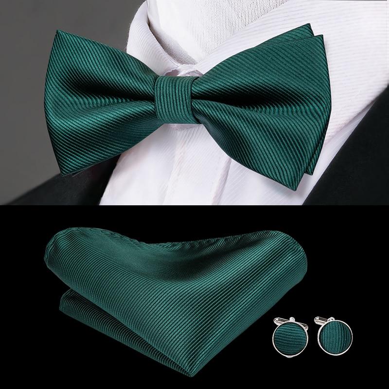 Two Tone Black Aqua Bow tie /& Blue /& Black Handkerchief 3pcs Set Wedding  Green