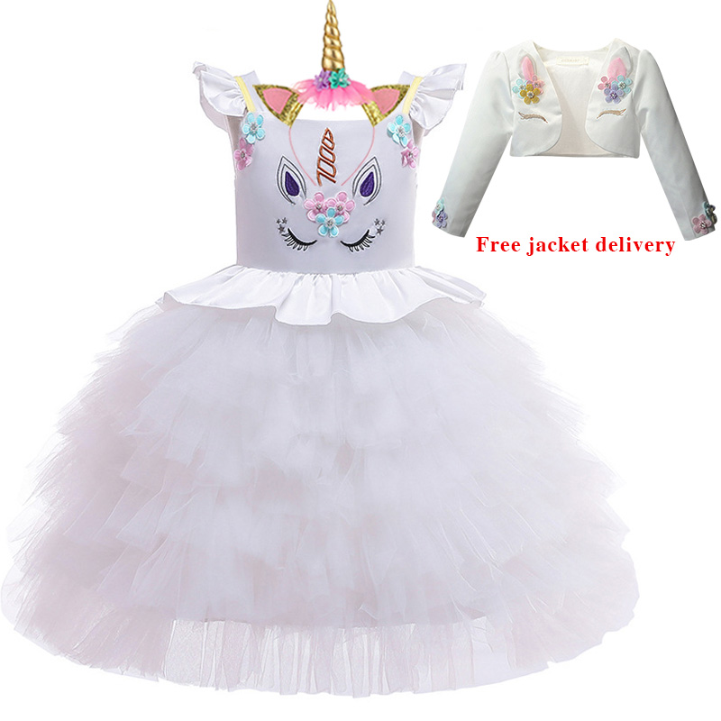 Hae74cd10c8be4c66b1b8f83803de6c496 New Unicorn Dress for Girls Embroidery Ball Gown Baby Girl Princess Birthday Dresses for Party Costumes Children Clothing