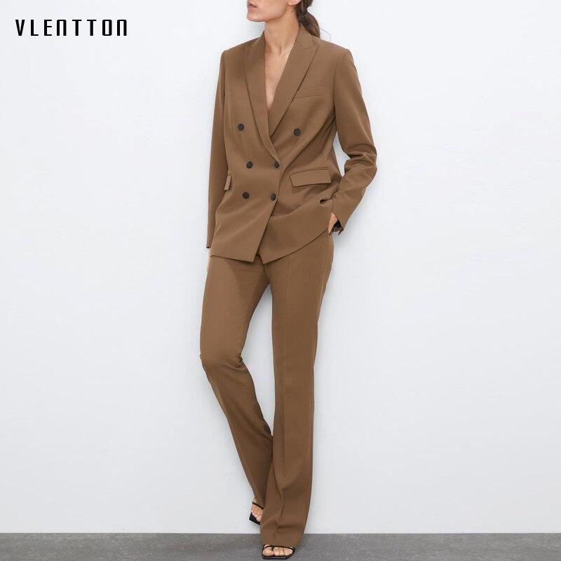 Autumn Office Work Pants Suit OL 2 Piece Set Women Blazer Jacket Tops+Zipper Wide Leg Trousers Female Casual Two Pieces Feminino