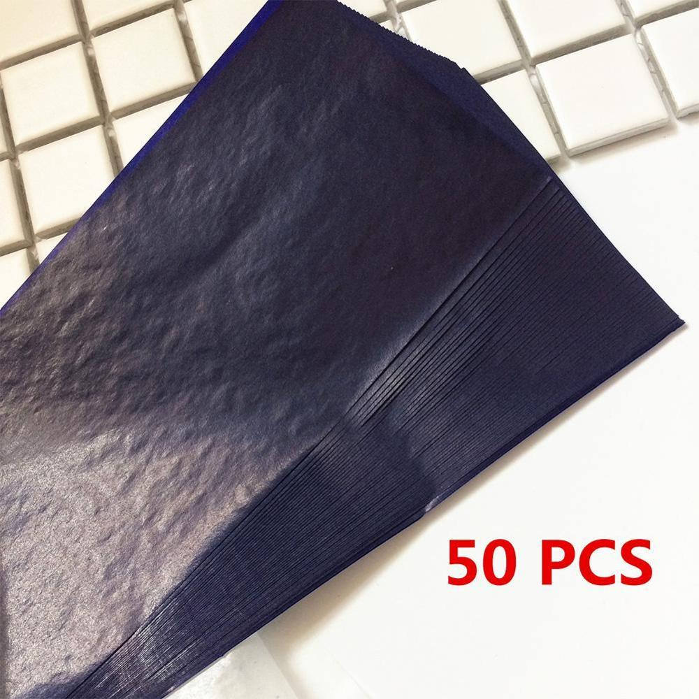 New 50pcs Blue Double Sided Carbon Paper 16K 32K 48K Thin Type Stationery Paper Finance Office Supplies
