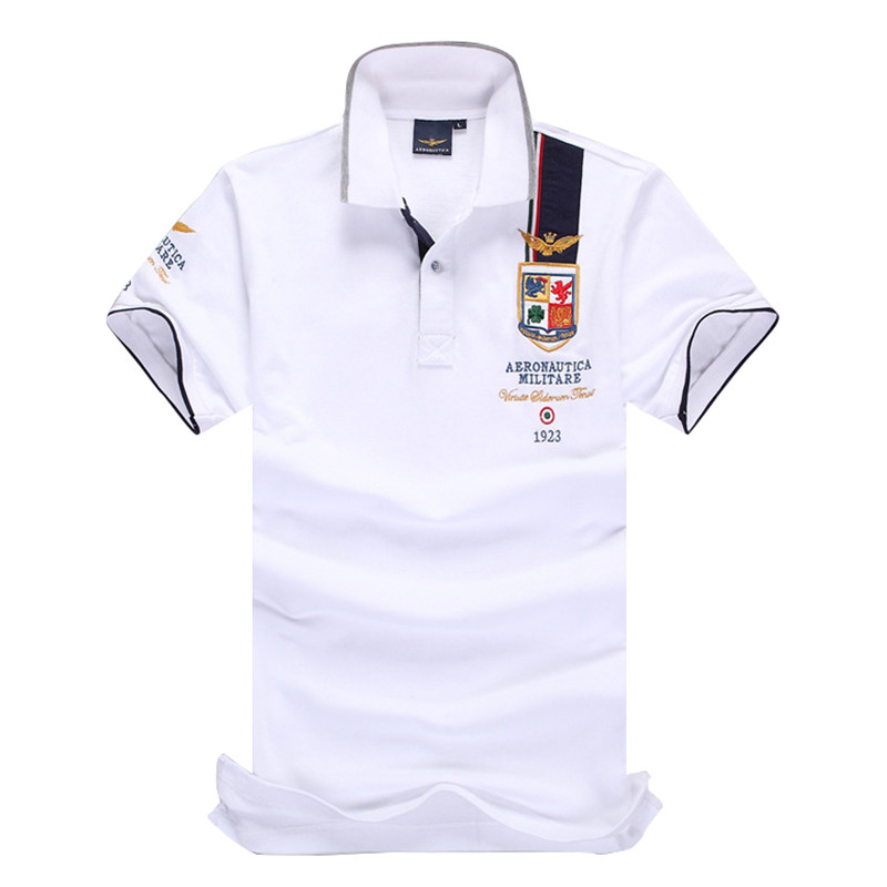New summer menswear boutique embroidered breathable   polo   shirt lapel men's air force army   polo   shirt size s-3xl