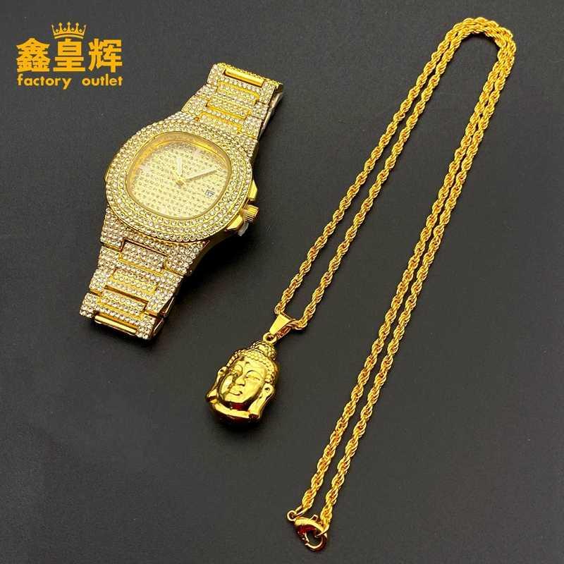 De lujo de estilo hip-hop de los hombres relojes de diamantes y oro de moda budista collar con personalidad colgante combinación traje par