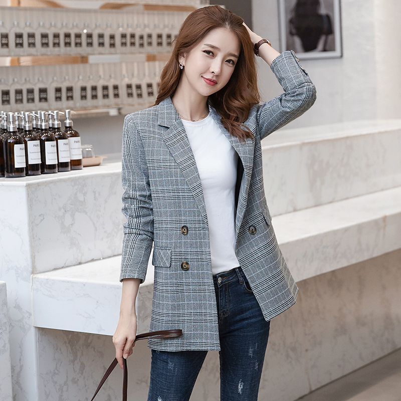 Temperament Women's Plaid Jacket Large Size 2019 New Elegant Loose Double-breasted Ladies Blazer Casual Office Jacket Female