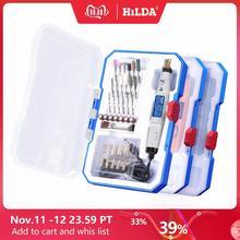 Hilda mini broca ferramenta giratória 18v gravura caneta com acessórios de moagem conjunto multifunções mini caneta para ferramentas dremel