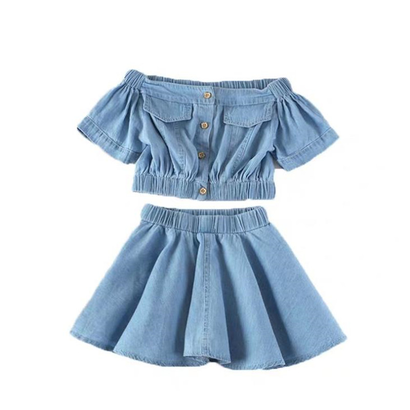 DFXD Toddler Girls Clothing Sets Jeans Suit Summer Fashion 2pc Kids Outfit Thin Denim Shoulderless Collar T-shirt Pleated Skirt 1