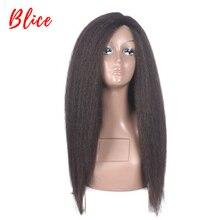 Blice ארוך קינקי ישר סינטטי שיער פאות לאפריקני אמריקאי נשים טבעי שאינו תחרה 16 24 אינץ Kanekalon אפרו מלא פאה