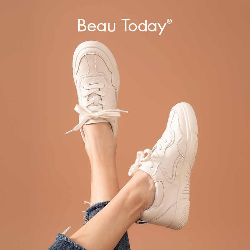 BeauToday Sneakers kadın hakiki inek deri yuvarlak ayak dantel-up kapatma bayanlar Casual Flats ayakkabı beyaz el yapımı 29039