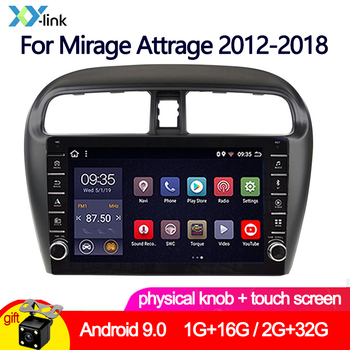 Car Multimedia player 9 2+32G Android 9.0 knob Radio For Mitsubishi Mirage Attrage GT G4 2012-2018 GPS Navigation Stereo camera image