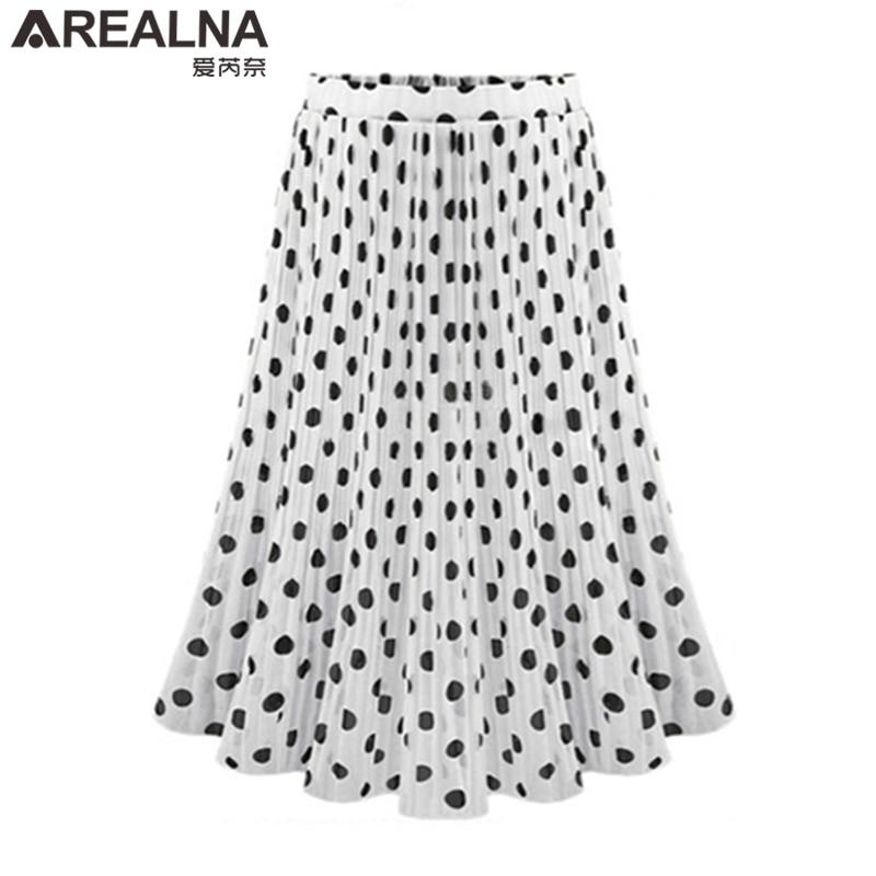Black White Women's Tulle Polka Dot Chiffon Pleated Skirt Summer Skirts Womens Plus Size Harajuku Korean Midi Flared Skirt Women 2