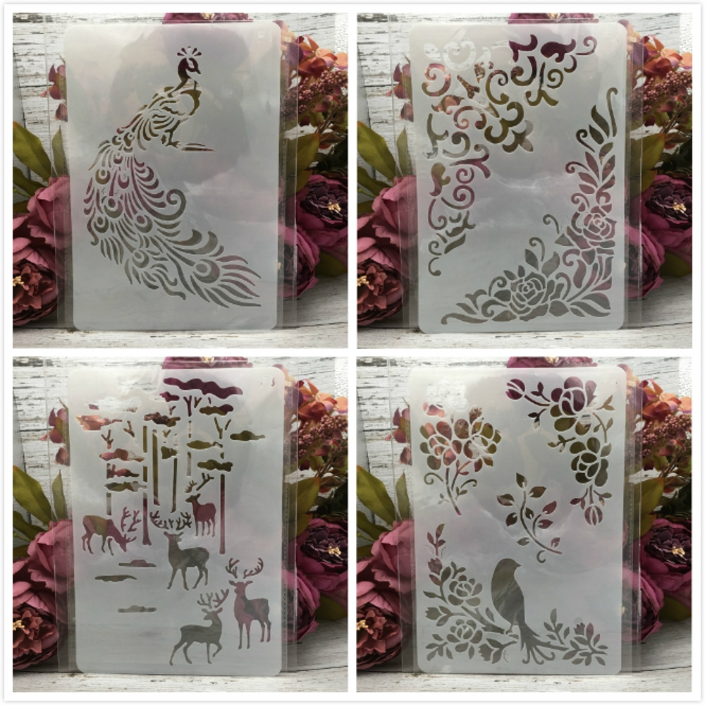 4Pcs 26*17cm Deer Bird Peacock DIY Layering Stencils Wall Painting Scrapbook Coloring Embossing Album Decorative Card Template