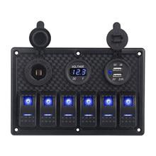 5/6 Gang LED bascule Swtich panneau étanche voltmètre numérique double USB Port prise 12V sortie combinaison voiture bateau commutateur panneau