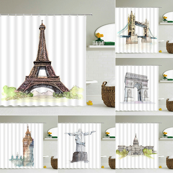 Waterproof Fabric Shower Curtains Paris Tower,London Bridge ,Arc de Triomphe Bathroom Large 240X180 3D Print Decor Wall Curtain image
