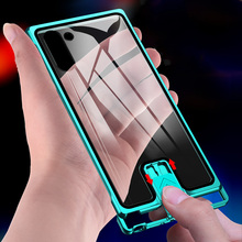 Luxury Metal Bumper Cover For Samsung Note 10 Plus Case Shockproof Tempered Glass Coque S10 Phone Shell