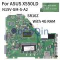 KoCoQin материнская плата для ноутбука ASUS X550LD X550L Y581L X552L R510L I7-4500U материнская плата REV.2.0 SR16Z N15V-GM-S-A2 с 4G Оперативная память