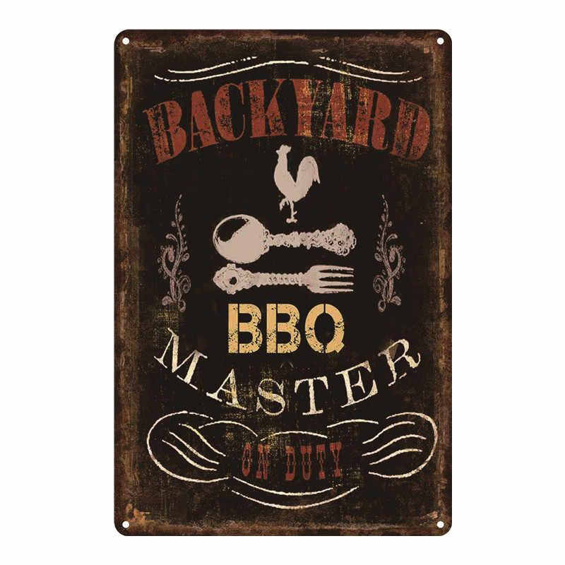 Metallschild Blechschild Wandbild Dads Grill BBQ Barbecue Barbeque 35x38cm Retro