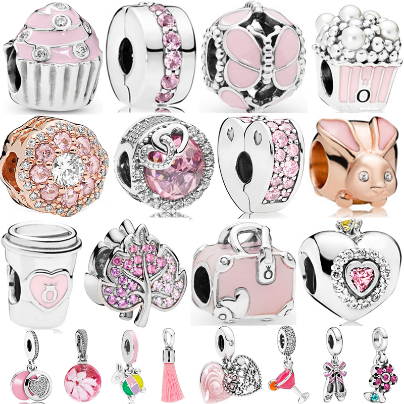Couqcy Big Hole Lovely Pink Beads Fit Pandora Bracelet Necklace DIY Charms For Women Enamel Heart Shape Pendant For Girl Gift