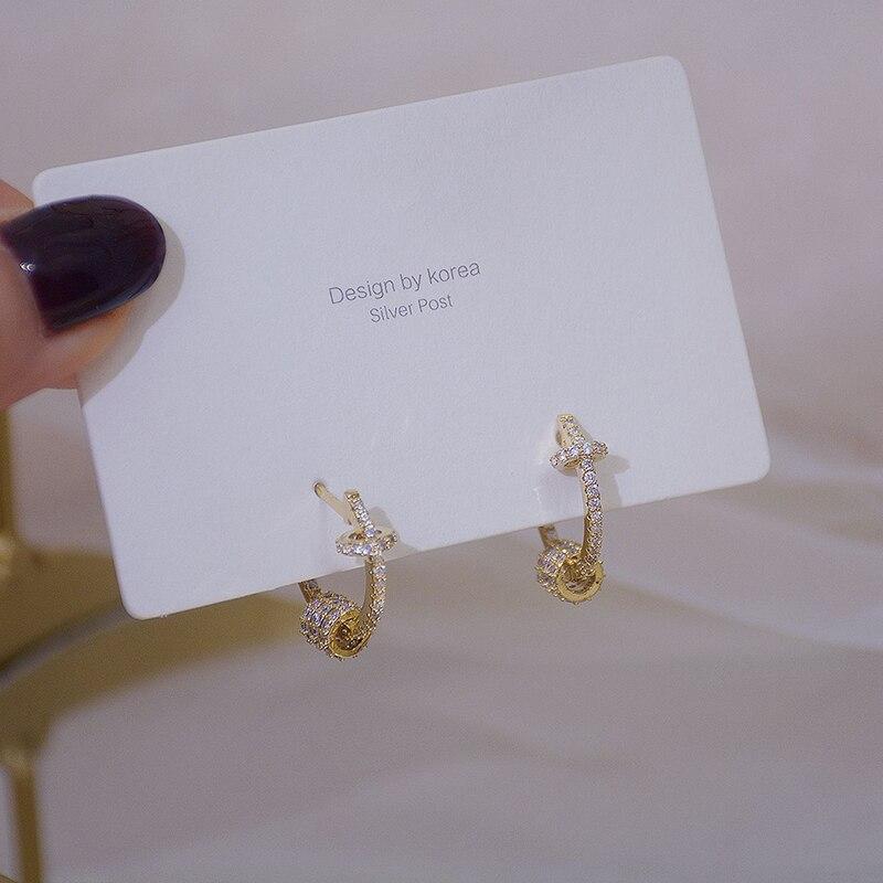 14k or véritable luxe Super brillant boucles d'oreilles boucle de haute qualité délicate AAA Zircon cercle boucle d'oreille bijoux pendentif accessoires 6