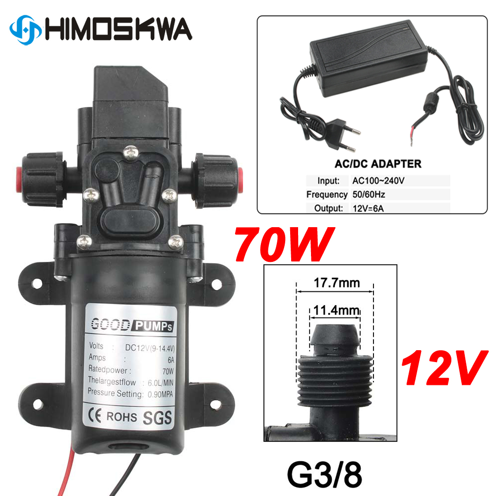70W DC 12V 130PSI 6L/Min Water Pump High Pressure Diaphragm Self Priming Pump With Plug For Car Cleaning