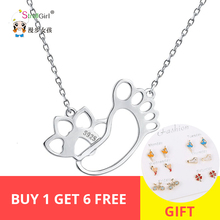 StrollGirl 100%925 Sterling Silver Cute Dog Footprint Pendant Necklace 2019 Woman Fashion Jewelry Mother's Day Gift Free Shippin pendant polar bear 2017 new fashion glam 925 silver jewelry thomas style sterling necklace cute gift for ts soul woman