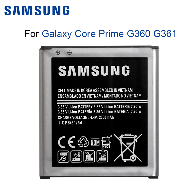 <font><b>SAMSUNG</b></font> Original Phone <font><b>Battery</b></font> EB-BG360BBE For <font><b>Samsung</b></font> Galaxy Core Prime G360 <font><b>G361</b></font> G360V G3608 G360H 2000mAh image