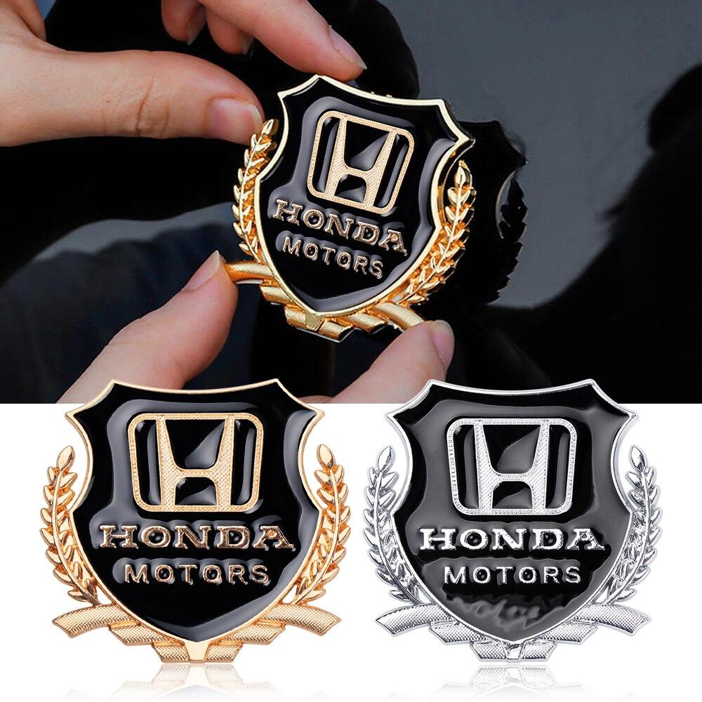 2 pçs 3d motores de metal estilo do carro emblema cauda corpo emblema liga zinco adesivo para honda civic accord odyssey spirior crv suv
