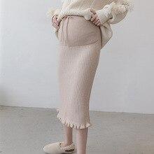 Юбки для беременных, длинная одежда для беременных, на шнурке, шерстяные, короткие, поддерживающие пояс, уплотненная трикотажная юбка, облегающая Одежда для беременных женщин
