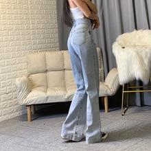High Waisted Wide Leg Jeans Grey Blue Baggy Jeans Women Deni