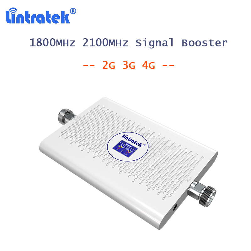 Lintratek 2G 3G Signal Booster AGC Cell Phone 70dB 4G LTE Repeater DCS 1800mhz WCDMA 2100mhz Dual Band Amplifier Display 23dBm 4