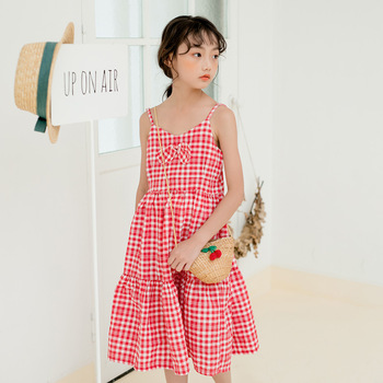 kids girl summer dress 2020 big girls dresses cotton teenager plaid dress children clothes for size 3 4 5 6 7 8 9 10 12 14 years