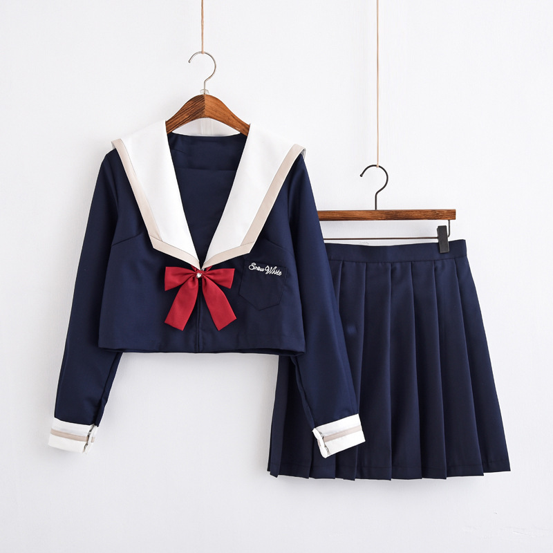 New Arrival Japanese School Uniforms For Girls Cute Long-length Sailor Tops Pleated Skirt Full Sets Cosplay Jk Costume Series XL