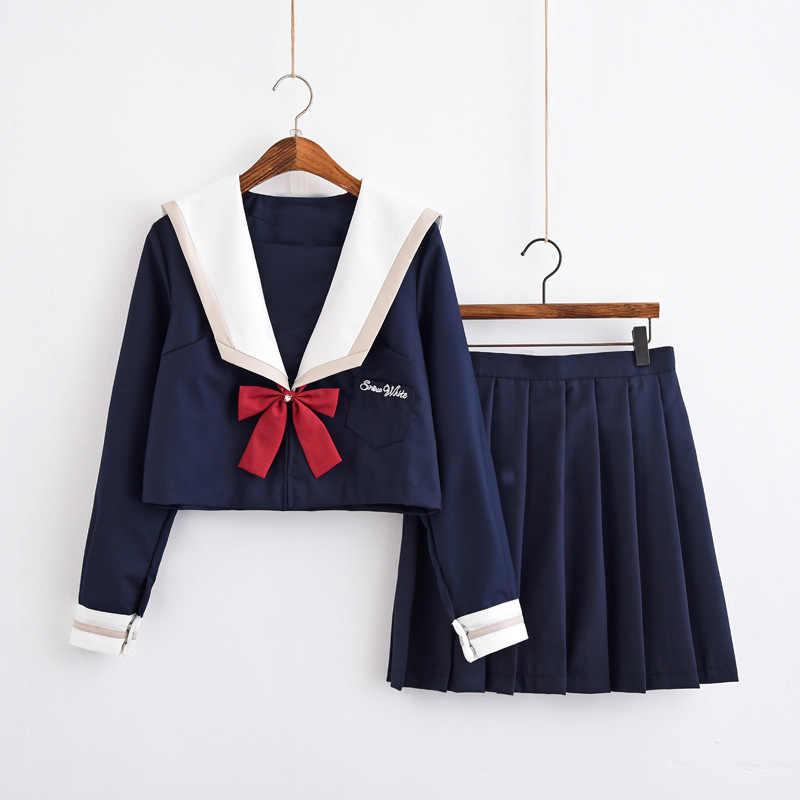 Nieuwe Collectie Japanse Schooluniformen Voor Meisjes Leuke Lange-Lengte Sailor Tops Geplooide Rok Volledige Sets Cosplay Jk Kostuum serie Xl