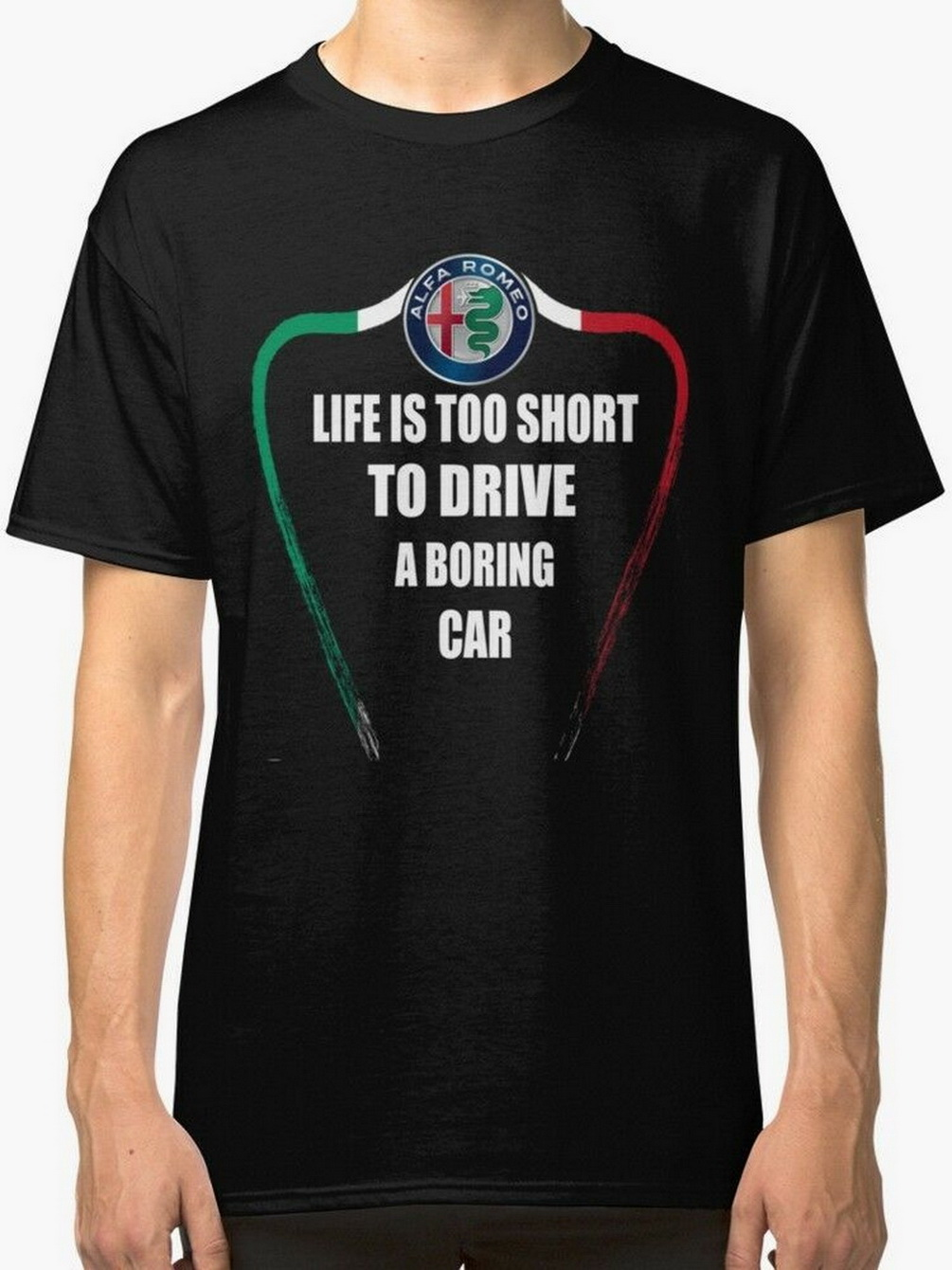 Life Is Too Short To Drive A <font><b>Boring</b></font> Car Alfa Romeo Men's Black Tees <font><b>T</b></font>-<font><b>Shirt</b></font> Men Clothes Tops TEE <font><b>Shirt</b></font> image