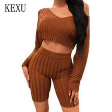 KEXU Sexy Deep V Exposed Umbilical Top and High Waist Tight Five Pants Suit Women Elegant Long Sleeve Bodycon Slim Playsuits