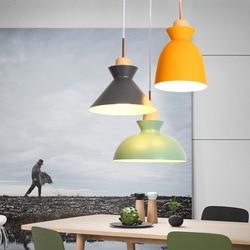 Europa zwięzłe nowoczesne oryginalność lada do restauracji i baru postmodernistyczne biuro kolor sztuka z drewna aluminium pojedynczy klosz żyrandol w Wiszące lampki od Lampy i oświetlenie na